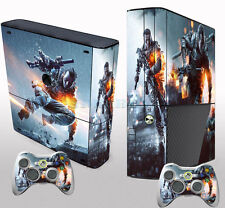 Fire Custom Sticker Decals Cover for Xbox 360 E Console + 2 Free Controller Skin