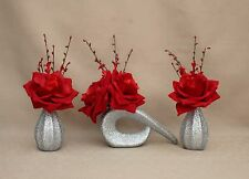 ARTIFICIAL (SET OF 3) SILK RED VELVET ROSES IN SILVER GLITTER CERAMIC VASES