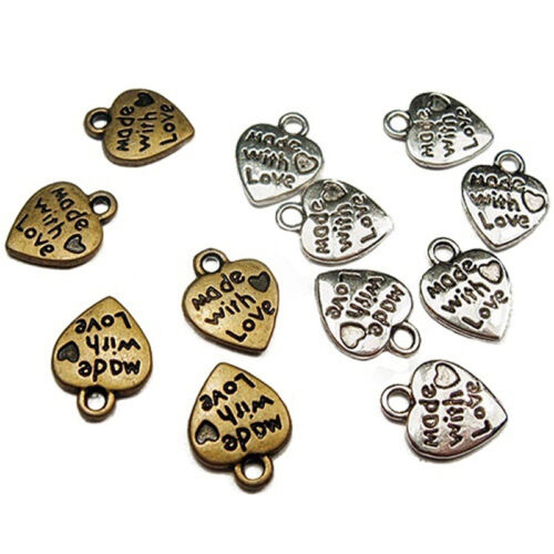 50Pcs Silver//Gold Plated MADE WITH LOVE Heart Beads Charms Pendants DIY Craft