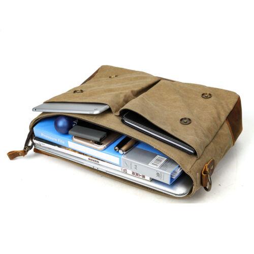 Men/'s Vintage Leather Canvas 14/'/'Laptop Schoolbag Satchel Shoulder Messenger Bag