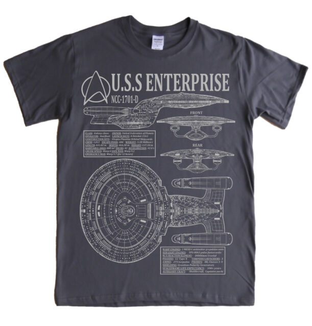 STAR TREK - NEXT GENERATION ENTERPRISE - S - 5XL T-shirt blueprints specs picard