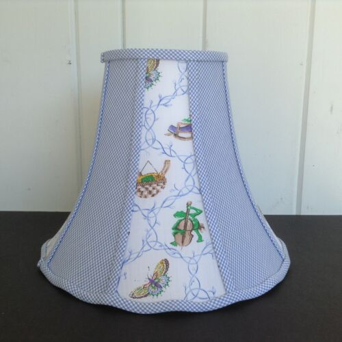 Kids Blue White Gingham Lampshade Green Frogs Butterflies Birds 10t x 13w