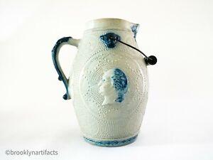 Antique-Whites-Utica-Stoneware-Beer-Toasting-Jug-Stein-Pitcher-Posit