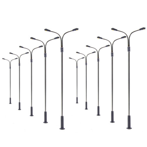 10pcs Model Railway H0 Scale Two-heads Lamp 1:87 10cm Street Lights Warm White