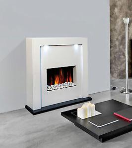 electric fire fireplace designer floor free standing white surround led lights ebay. Black Bedroom Furniture Sets. Home Design Ideas