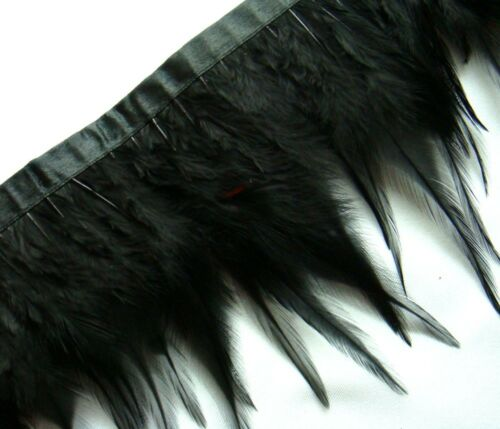 F202 par pieds-Black Rooster Hackle Hen Feather FRINGE TRIM FASCINATOR matériel