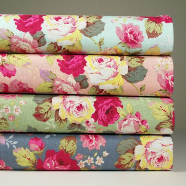 Lot of 4 Fat Quarters 100% Cotton Fabric Floral Print Sewing Craft s-088