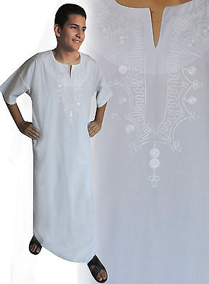 Contemplative Beautiful Elegant Modern Men's Caftan Aus1001 Night In White Kam00134 Be Friendly In Use Clothing, Shoes & Accessories