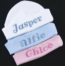 PERSONALISED EMBROIDERED NAME BABY HAT BOY GIRL NEW GIFT NEWBORN BEANIE KNOTTED