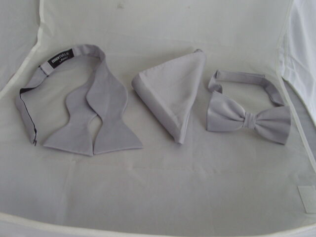 Polyester Silver Pre-tied OR Self-tie Bow tie and Hankie Set > P&P 2UK>1st Class
