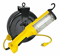 Fluorescent Retractable Reel Auto Work Trouble Light W/ Outlet Overload 5030a-q