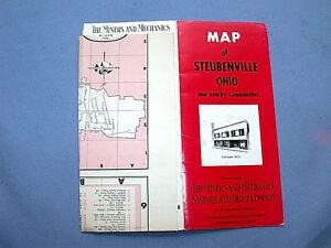 Vintage Advertising Miners Mechanics Bank Steubenville Ohio Map