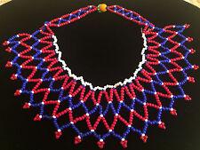*VINTAGE* Seed Bead Tribal Bib Collar Choker Necklace