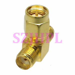 5pcs adapter SMA Male to 2x SMA Female Triple T RF Connector