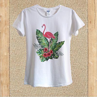 shirt 100/% coton unisexe femmes FLAMANTS ROSES /& ananas DOODLE Summer Happy T 