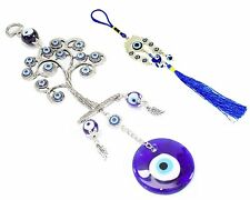 Set of 2~ Blue Evil Eye Wall Hanging Life Tree + Horse Shoe Amulet Protection