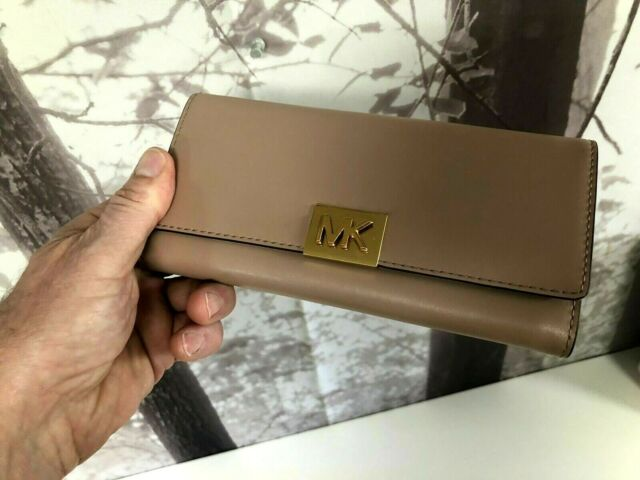 7207735bef5c Michael Kors Mindy Polished Leather Carryall Wallet in Pastel Pink ...