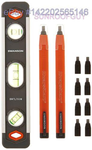 75210006 Swanson 9 Inch Aluminum Magnetic Torpedo Level /& Carpenter Pencil