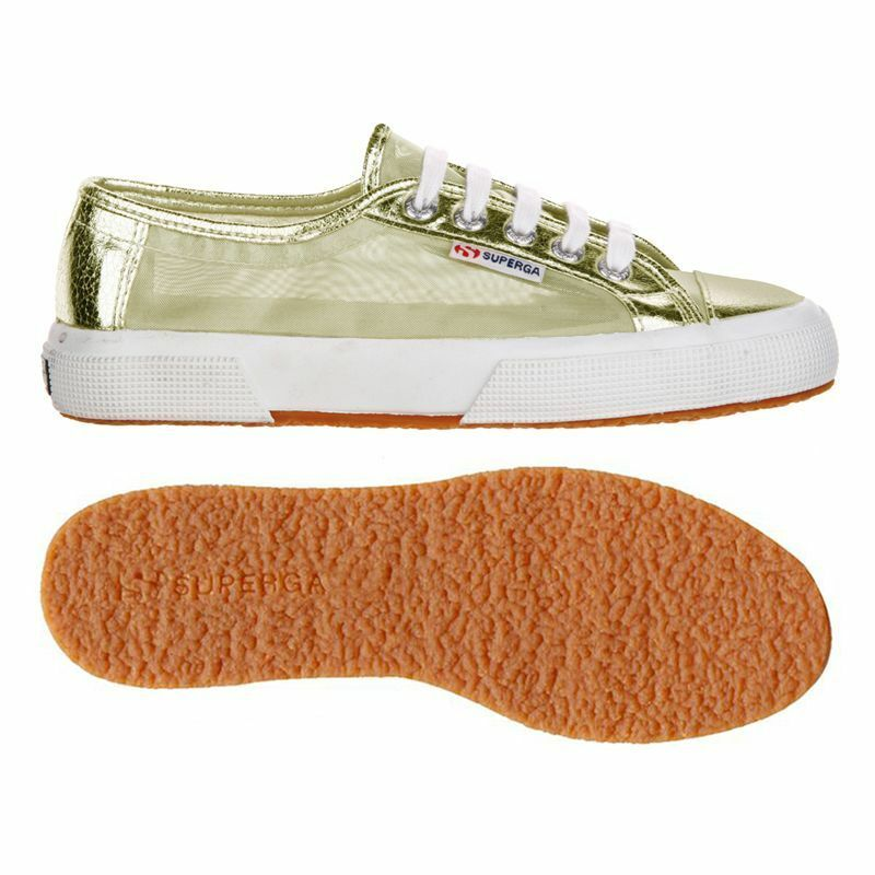Superga Sneaker Mesh Metallic Trainers Bling  Shoes Size 5.5/39 BNWT  Bling  Gold c49b88