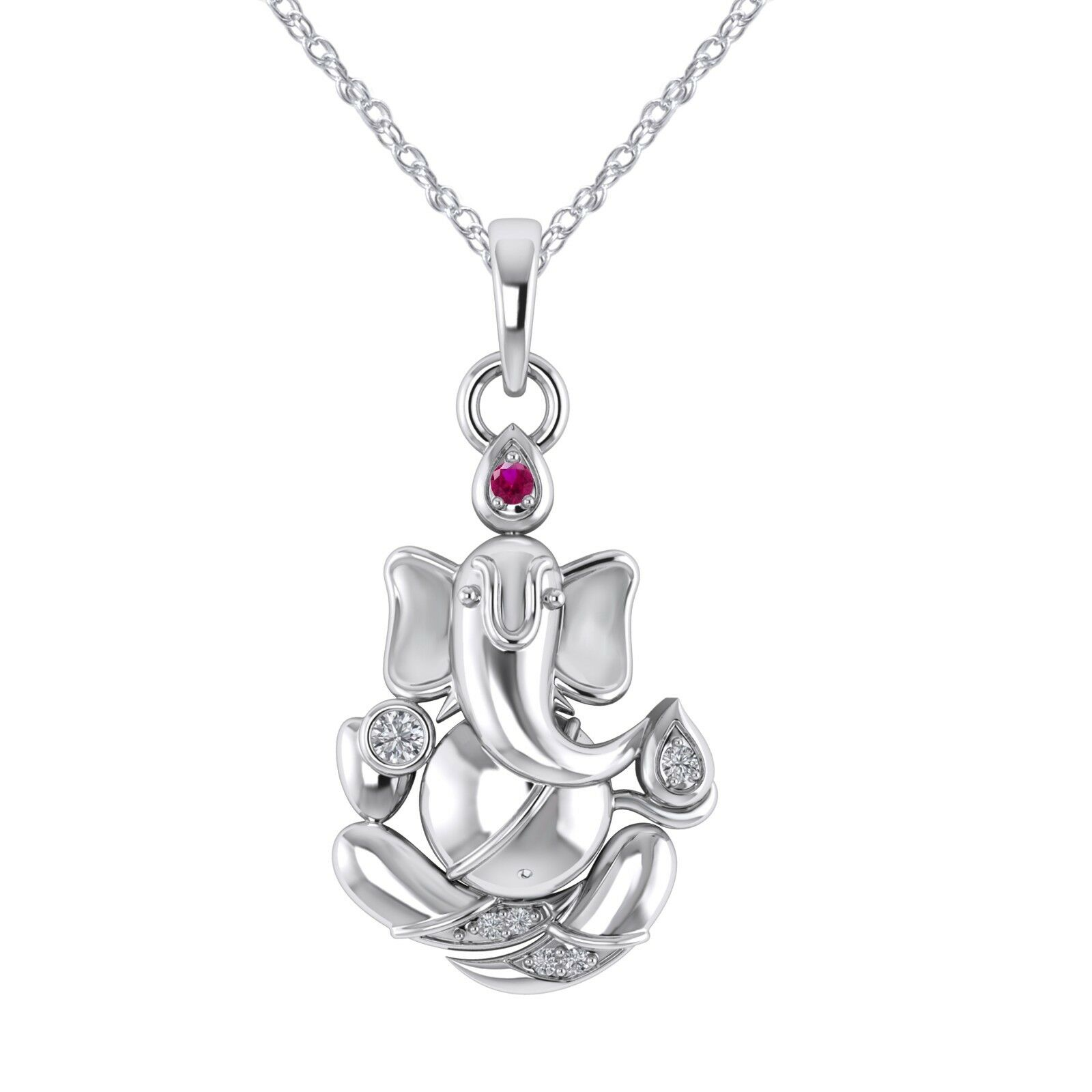 0.07 Ctw Genuine Diamond & Ruby Lord Ganesh Pendant 14K White gold Finish