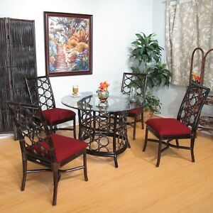 Rattan Dining Furniture 5 Pieces Set (4-Chairs and Table W ...