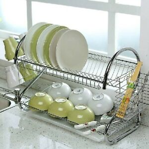 2-TIER-CHROME-PLATE-DISH-CUTLERY-CUP-DRAINER-RACK-DRIP-TRAY-PLATES-HOLDER