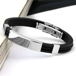 Unisex-Men-039-s-Braided-Silicone-Stainless-Steel-Magnetic-Clasp-Bracelet-AU
