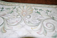 Beige W/ Green Leaves And Vines Scroll And Script Wallpaper Border W1134