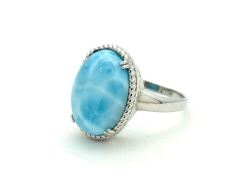 Larimar Genuine 12X16mm .925 Sterling Silver Vintage designer Ring.size 8