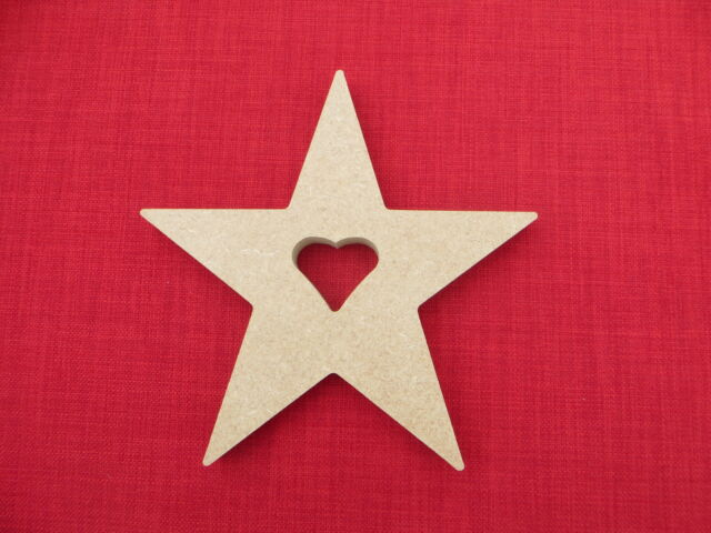 Free standing large Star wooden MDF shape with Heart cutout