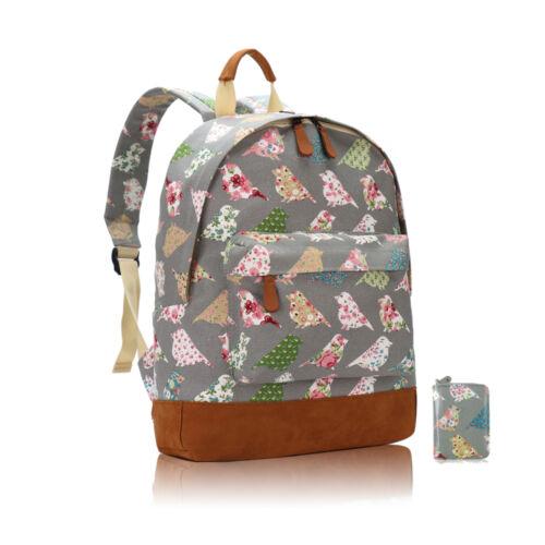 Ladies Girls Floral Birds Canvas Backpack Rucksack School College Shoulder Bag