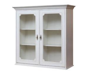 Detalles de Mueble de pared 2 puertas, vitrina colgante para cocina en  madera y vidrio