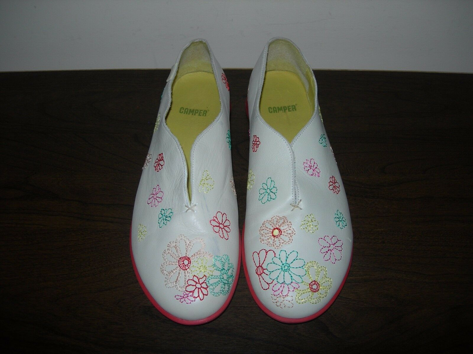 CAMPER WOMEN'S SHOES SLIP ON PUMPS FLAT IVORY LEATHER FLORAL EU 41- 40   UK 8- 7