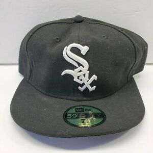 New-Era-Chicago-White-Sox-59FIFTY-Fitted-Flat-Brim-Black-MLB-Hat-Cap-New-7-1-8