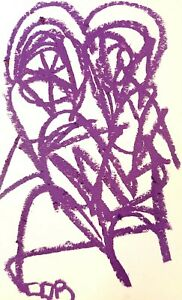 PURPLE EXPRESSIONIST PAINTING PASTEL ORIGINAL DRAWING WALL ART CONTEMPORARY DECO
