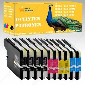 10x-DS-Cartuchos-compatible-con-Brother-LC980-LC1100-DCP-385C-DCP-6690CW-132