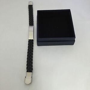 Bracelet-Unisex-Black-Woven-Leather-1cm-Width-Stainless-Steel-Bar-Engraved-FOC