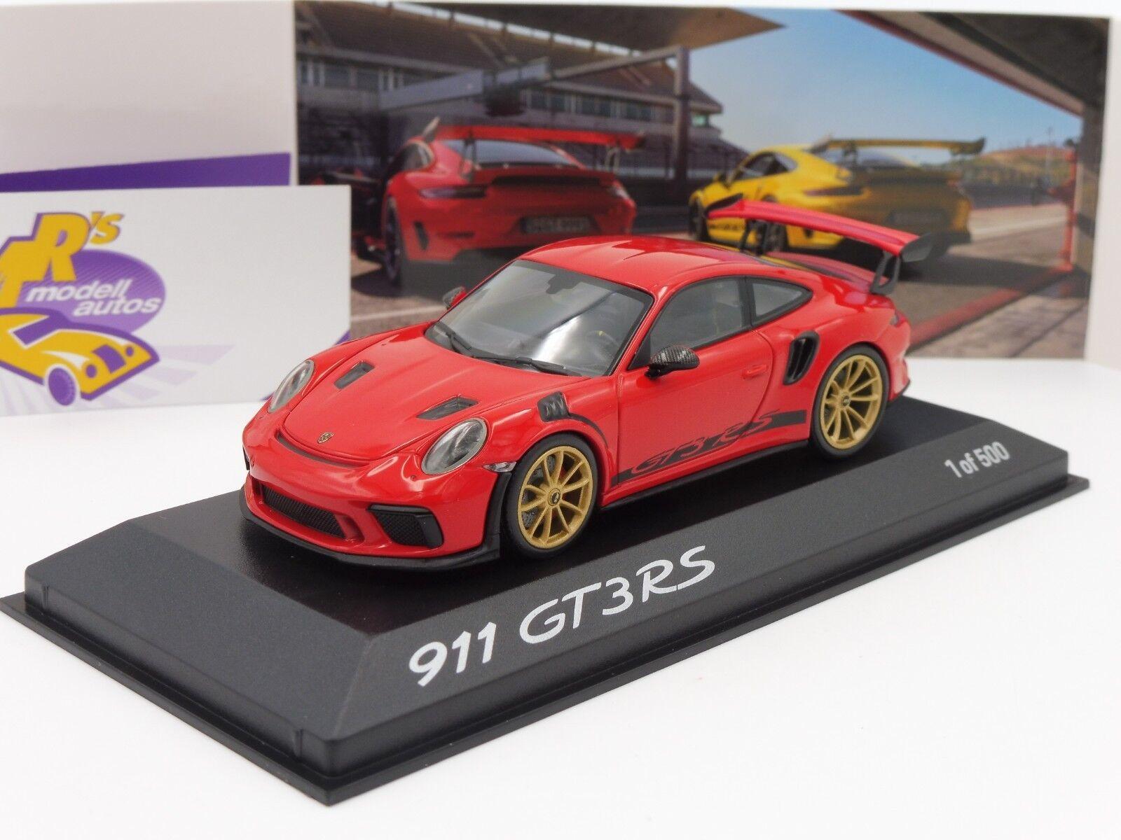 MINICHAMPS wax02020084   Porsche 911 gt3 rs année de fabrication 2017 IN  ROUGE INDIEN  1 43