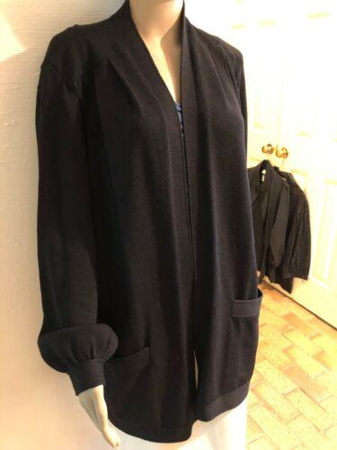 St. John Santana Knit Black Open Front Topper/Cardigan Pleated Shoulders Sz M