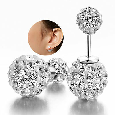 Womens Silver Plated Double Crystal Ball Ear stud Earrings Jewelry Beautiful