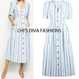 e0ae6e445d1505 NEW LOOK CAMEO ROSE New Season Stripe Button Down Midi Dress Sizes ...