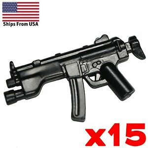 LEGO-Guns-MP5A5s-SMG-Lot-of-15-Sub-machine-Gun-SWAT-Soldier-Military-Weapon-pack