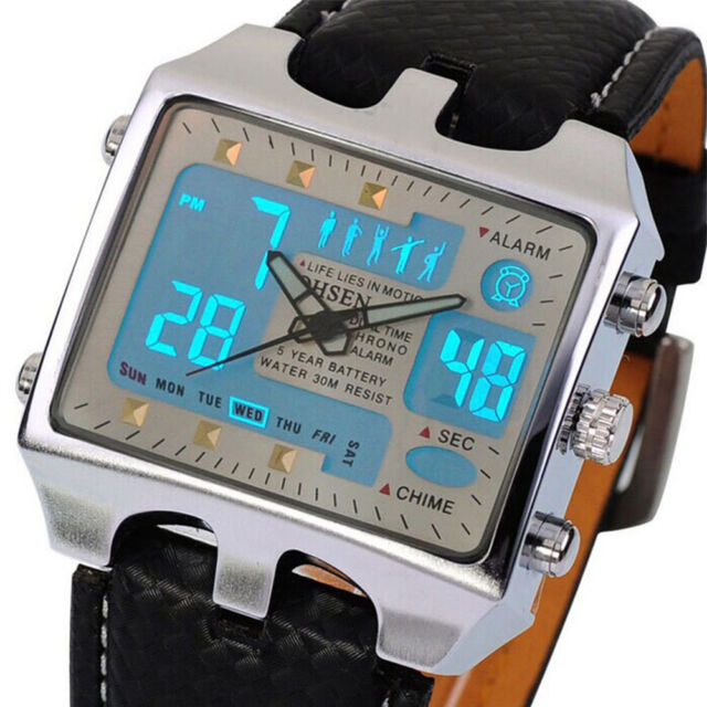 Men's White Dial Stainless Steel Case Black Leather Band Quartz Wrist Watch