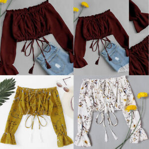 Women-Summer-Off-Shoulder-Chiffon-Long-Sleeve-Print-Blouse-Tops-Clothes-T-Shirt