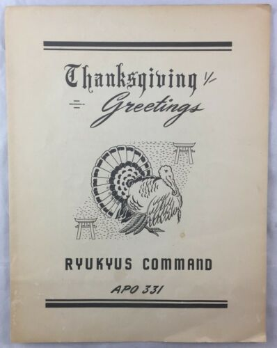 Korea War Era Thanksgiving Menu Ryukyus Islands Pacific Command APO 331