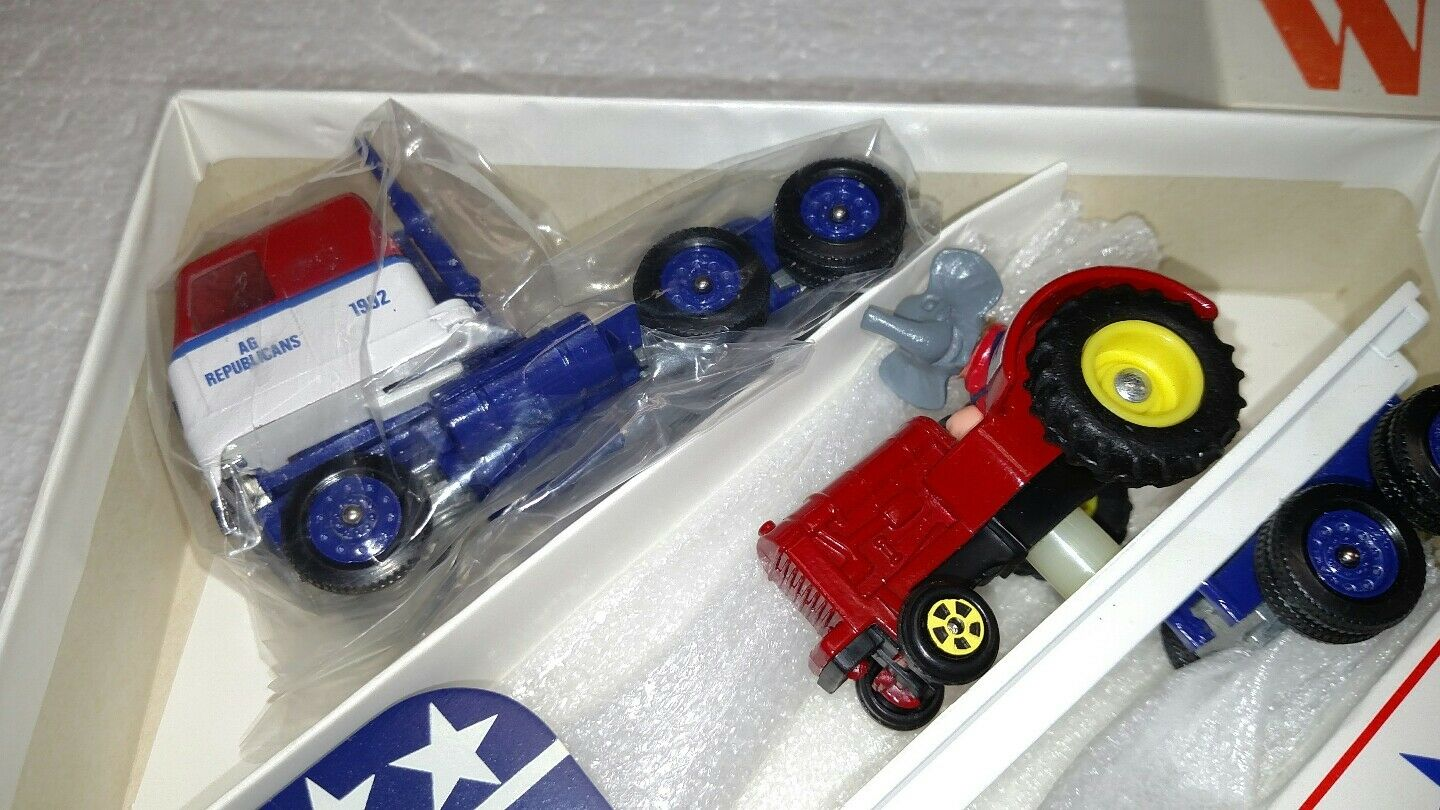 RARE WINROSS DIECAST AG REPUBLICANS TRACTOR TRAILER WITH WITH WITH BUSH LETTER 1992 16c3aa