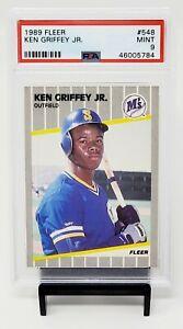 1989-Fleer-HOF-RC-Mariners-KEN-GRIFFEY-JR-Rookie-Baseball-Card-PSA-9-MINT