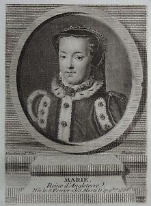 100% De Qualité Gravure Antique Print Portrait Marie Reine D'angleterre Mary I Queen Of England