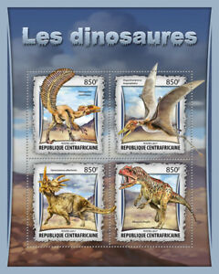 Central-African-Rep-2017-MNH-Dinosaurs-Allosaurus-Styracosaurus-4v-M-S-Stamps