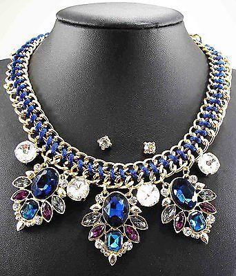 Fashion pentand Crystal Bib Statement charm chunky colorful collar Necklace 831